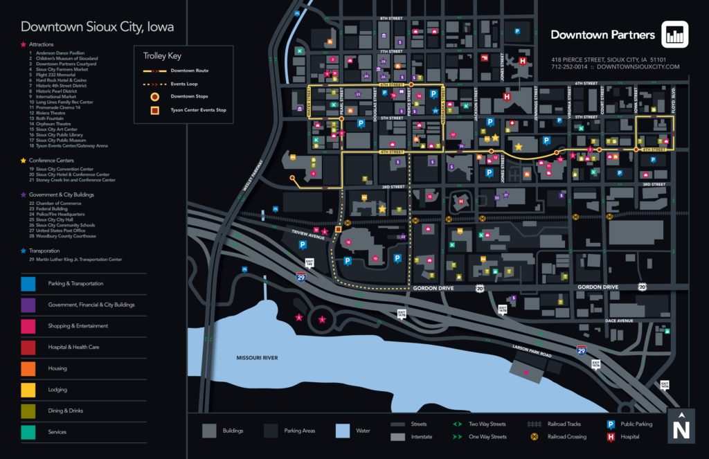 Downtown Sioux City Trolley Map